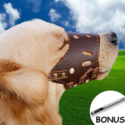 Supet verstelbare hondenmand van leer, ademend, veiligheid voor huisdier, hond, mand, masker, bellen en kauwen tegen te houden, S(Schnauze breite 18-22cm), bruin