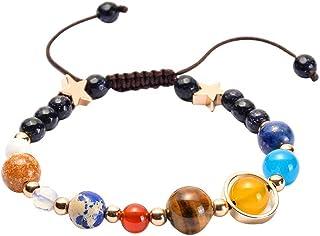 Nouveau Pierre naturelle Perles Bracelet Galaxie Système Solaire huit planètes Thème Cadeau