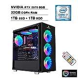 2020 NexiGo Quantum-Flux Gamer Liquid Cooled VR Ready RGB Gaming Computer (Intel 8-Core i7-9700K 3.6GHz up to 4.9GHz, RTX 2070 8GB GDDR5, 32GB DDR4 RAM, 1TB SSD (Boot) + 1TB HDD, Windows 10)