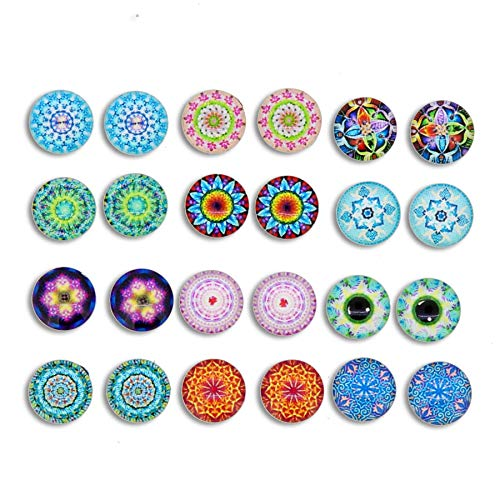 Kaleidoscope Photo Pattern Glass Dome Magnetic Clip-on Earrings for Teen Girls Kids Women non piercing ear Party Gift, Pack of 7 Pairs