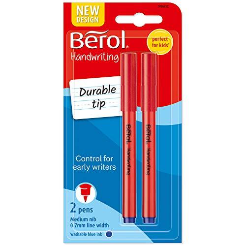 Berol Handwriting Pens, Round Shape, Washable Blue Ink, Bright Barrels, 2 Count