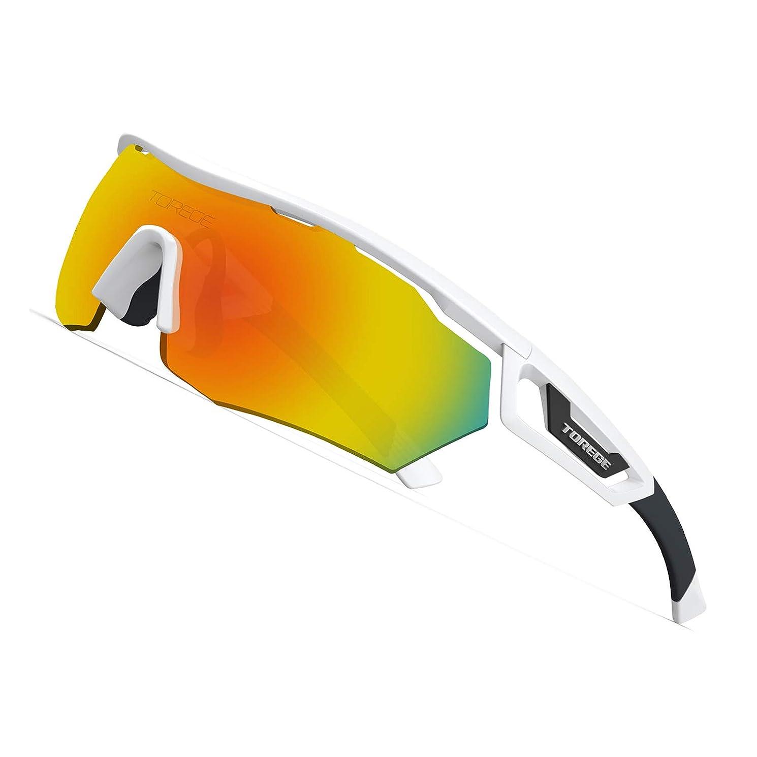 空いている寛解罹患率Torege スポーツサングラス 交換レンズ3枚 超軽量 TR90 UV400 紫外線カット サングラス/ 自転車/釣り/野球/テニス/スキー/ランニング/ゴルフ/ドライブ 運動メガネTR05