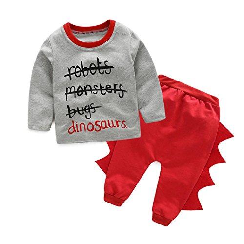 kingko® 1Réglez Enfants Infant Lettre Garçons Imprimer manches longues T-shirts Tops + Pantalons Dinosaur Tenues Vêtements (24M)