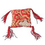 Cuenco cantante alfombra cojín nepalés cantante budismo con mango rojo, alfombra de almohada, arte artesanal, decoración (10 cm)