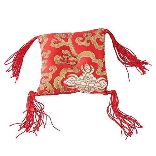 Coussin pour bols tibétains bouddhistes, bol de chant, brodé en tissu rond, tapis pour coussin de cuisine, fabriqué à la main, rouge, décoration artisanale avec pompon (10 cm)