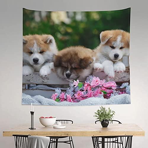 akita cuccioli animali domestici carino arazzo hippie parete arte estetica arazzo per camera da letto soggiorno decorazione della casa arazzi parete 150 x 150 cm