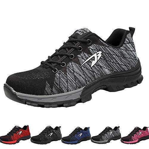 Drecage Sicherheitsschuhe Arbeitsschuhe mit Stahlkappe Atmungsaktiv Leicht für Herren und Damen Trekking Schutzschuhe Outdoor Sneaker 42