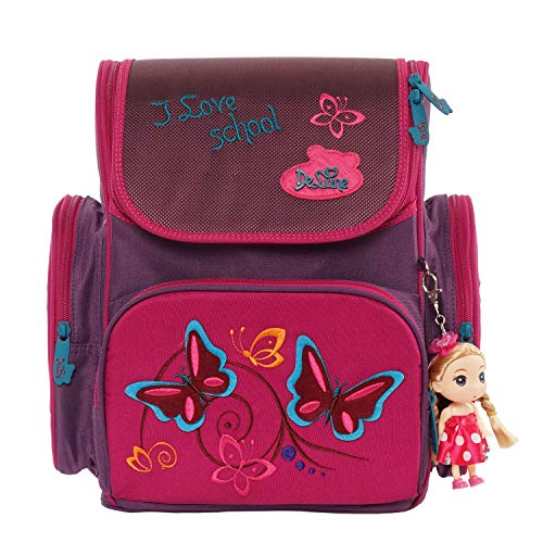 Delune Primary School Backpack for Girls Cartoon Rose Butterfly Printing Orthopedic Elementary School Bookbag for Kids Pupils