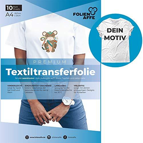 A4 Transferfolie für Laserdrucker & helle Textilien – Bügelfolie/Transferpapier, transparent – zum Übertragen von Fotos & eigenen Designs aufs T-Shirt – geeignet für Baumwollstoffe (10x)