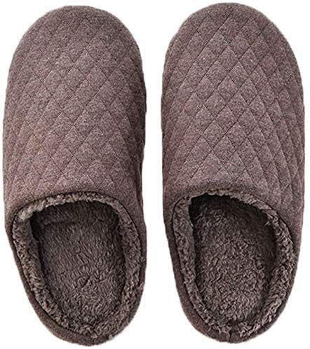 BLMDX Winter wasserdichte rutschfeste Hausschuhe Herren warme Hausschuhe Winter Baumwolle Hausschuhe Silent Mute Nahtlose Stoffboden Innen Schlafzimmer Teppich Weiche Baumwolle Hausschuhe (Farbe: