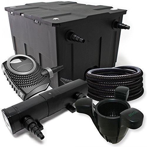 Filter Set aus Bio Teichfilter 60000l, 24W UVC Klärer, 80W Pumpe, Schlauch,Fontänenpumpe u. Skimmer