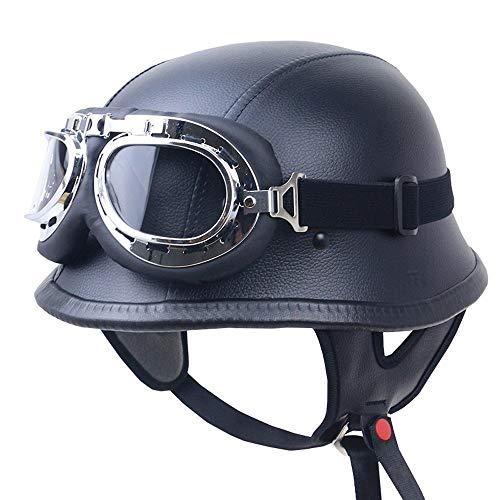 Sommer Oldtimer Motorradhelm mit Fliegerbrille Wehrmachtshelm Motorrad Retro Helm, Mode Motorrad Helm, DOT, ECE Sicherheitszertifizierung, 2 Farben erhältlich