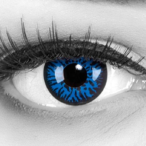 Funnylens 1 Paar farbige blaue dunkelblaue Crazy Fun Blue Demon Jahres Kontaktlinsen perfekt zu Halloween, Karneval, Fasching oder Fasnacht mit gratis Kontaktlinsenbehälter ohne Stärke!