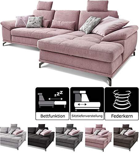Cavadore Schlafsofa Castiel mit Federkern, großes Sofa in L-Form mit Bettfunktion, Sitztiefenverstellung, Kopfstützen und XL-Longchair, 312 x 114 x 173, Webstoff, Flieder-rosa