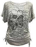 Emma & Giovanni -T-Shirt/Top/Camiseta para el Verano - Mujer (# Gris, XL)