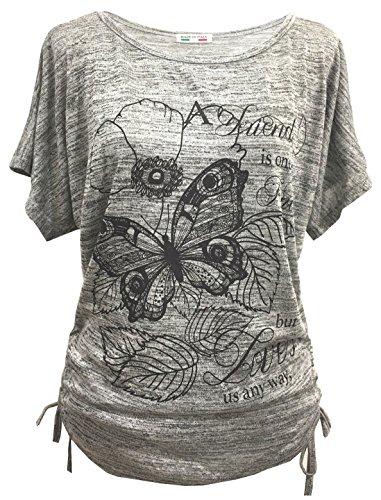 Emma & Giovanni - T-Shirt/Oberteile Kurzarm Schmetterlinge - Damen (# Grau, XL)