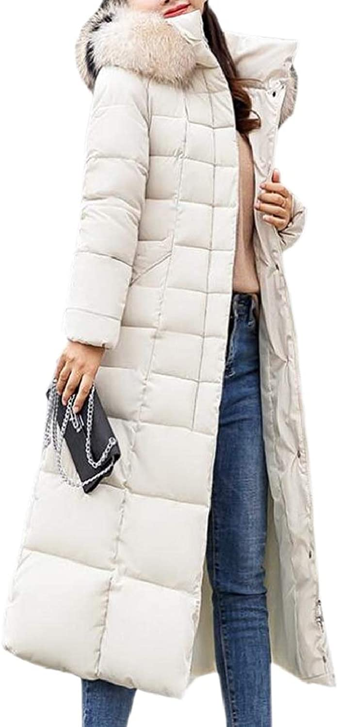 LKCENCA Women's Puffer Faux Fur Hooded Mid Long Padded Winter Parkas Coat