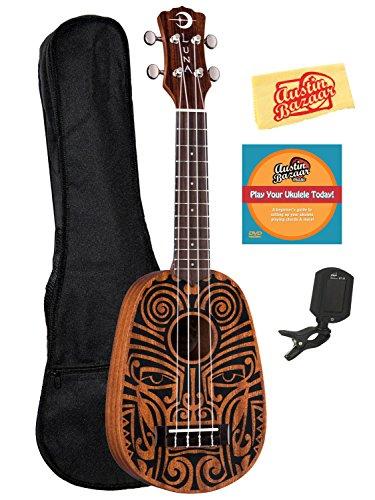 Luna Tribal 6-String Ukulele Bundle with Gig Bag, Tuner, Austin Bazaar Instructional DVD, and Polishing Cloth