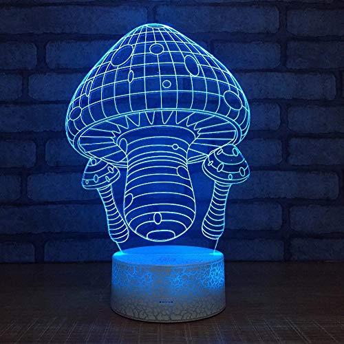 Novedad Lámpara de mesa LED 3D Lámpara de base agrietada Dibujos animados Bonita casa de setas Varios colores Decoración de luz nocturna