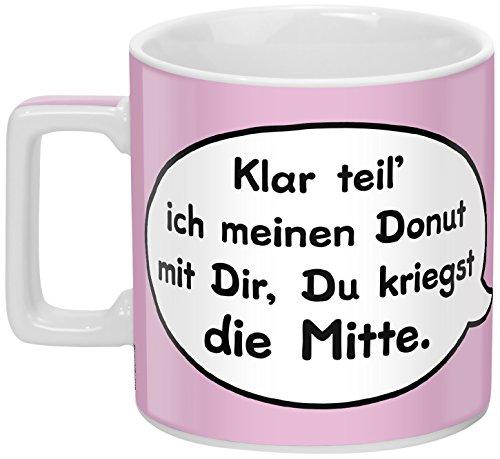Sheepworld 45403 Kaffee-Tasse mit Spruch Klar teil ich meinen Donut mit Dir, Du kriegst die Mitte, Porzellan, rosa