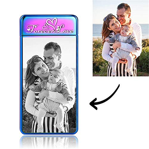Mens Custom Lighter-Photo Gifts-Gifts for Boyfriend-Personalized Gifts for Him-Zinc Alloy Fingerprint Sensor Lighter USB Rechargeable with Gift Box,Best Gifts for Fathers Day