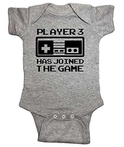 Video Game One Piece Player 3 Has Joined The Game Bodysuit (0M-Newborn, Heather Gray)