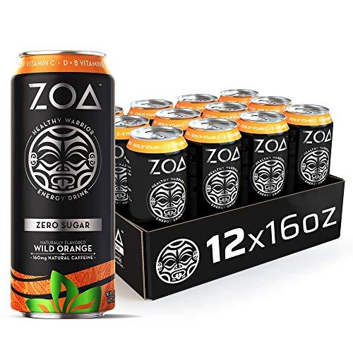 ZOA Zero Sugar Energy Drink, Wild Orange, 16 oz. (12 Pack) - Supports Immunity, Focus, Hydration, Body & Energy - 100% DV Vitamins C, B6 & B12