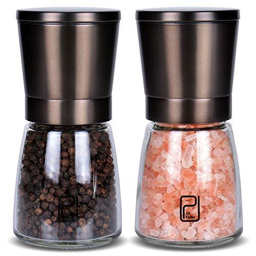 JCPKitchen Schwarzes Edelstahl Gewürzmühle Set mit Ständer aus Bambus - Rotmetallgrauen Salz- und Pfeffermühlen mit verstellbarem Keramikmahlwerk - Schwarze Pfeffermühle und Salzmühlen Streuer-Set