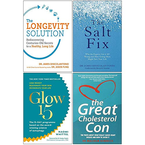 Price comparison product image Longevity Solution,  The Salt Fix,  Glow15,  Great Cholesterol Con 4 Books Collection Set