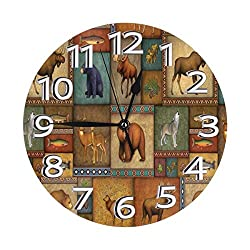 Ufiner Rustic Wildlife Bear Deer Moose Wolf Wall Clock Decorative Round Clock Silent Non Ticking Clocks with Large Numbers Elegant Desk Clock for Kitchen Office School Home