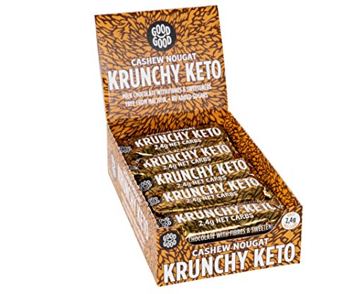 Krunchy Keto Bar (15x35g) - High Fibre Low Carb All Natural No Sugar Added - Cashew Nougat