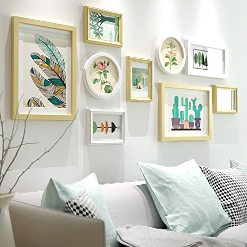 Cadre décoratif Cadres photo en bois, 9 Pcs/ensembles Collage Photo Frame Set, Cadres photo Vintage, cadre photo famille mur bricolage cadre photo ensembles pour mur (Couleur : A)