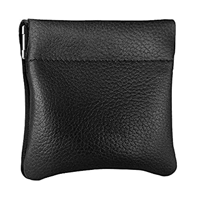 Genuine Leather Squeeze Coin Purse, Coin Pouch Made IN U.S.A. Change Holder For Men/Woman Size 3.5 X 3.5