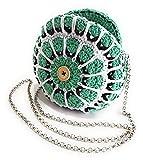 Bolso redondo crochet en algodón orgánico verde menta blanco y negro, bolso bandolera eco-friendly para mujer con asa de cadena