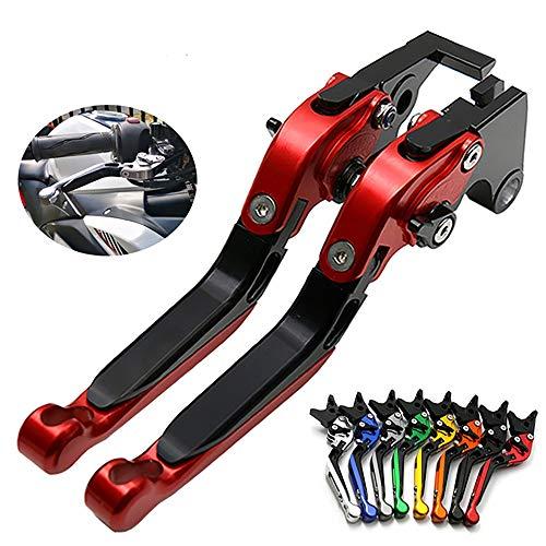 Kupplungshebel, 1 Paar Einstellklapp-CNC-Kupplungshebel mit kurzer Bremse, kompatibel für Kawasaki ZX6R / 636, ZX10R, Z1000SX / Ninja 1000 / Tourer, Z1000, HT14,Rot