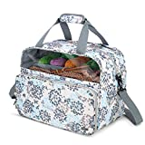 Teamoy Knitting Tote with Inner Dividers for WIP, Yarn Skeins and Knitting Accessories, Yarn Storage Bag with Front Clear Window, Dandelion(Patent Pending)