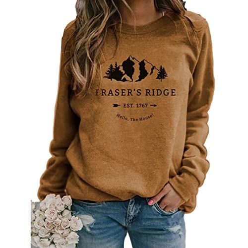 AmyGline Langearmshirt Damen Pullover Fraser's Ridge Drucken Rundhals Langearm T Shirt Oberteil Bluse Tunika Top Pulli Sweatshirt