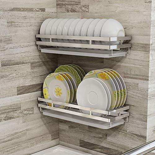 N /A Küchenregal, Wandmontage, 201 Edelstahl Abtropfgestell, Kombination – gestanzte Installation.