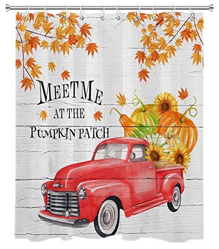LB Herbst Kürbis LKW Duschvorhang Set Thanksgiving Meet Me at The Patch Ahornblatt Sonnenblume Ernte Badezimmer Vorhang mit Haken 182,9 x 198,1 cm Wasserdicht Polyester Stoff Dekor