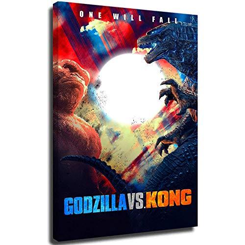 Póster 3D pintado a mano Godzilla vs King Kong 2021 de la película de arte de arte arte de pared, pintura moderna para decoración del hogar, 61 x 91 cm