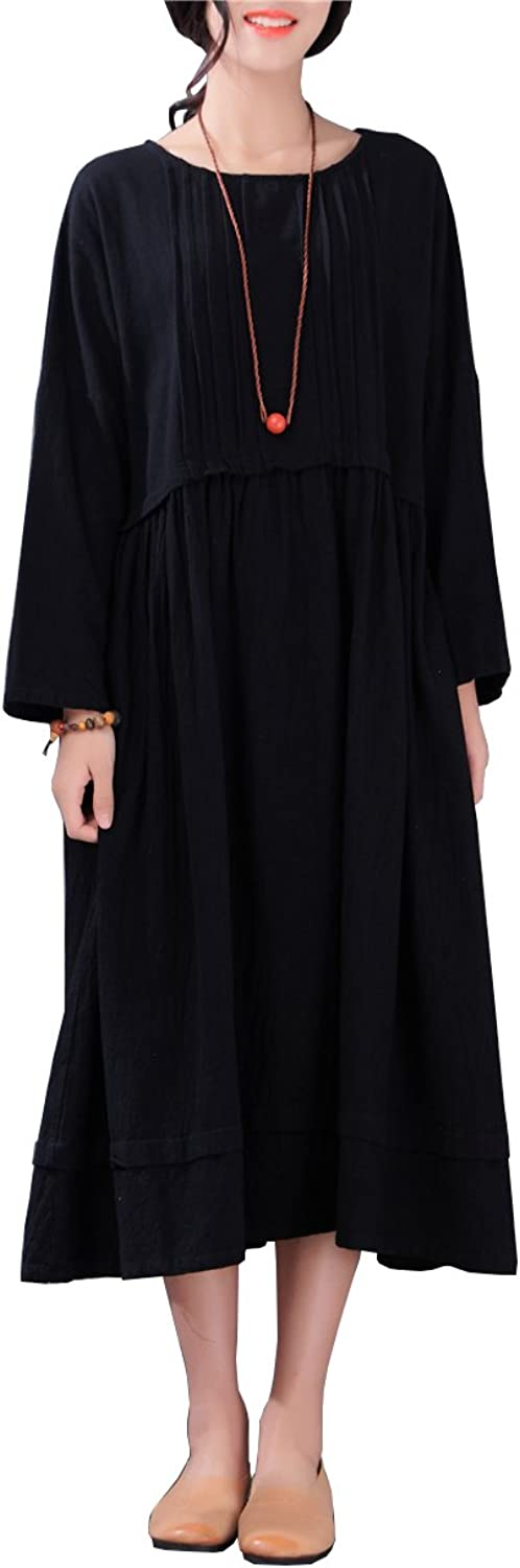 LifeShow Women's Casual Loose Long Sleeves Spring Fall Cotton Linen Dresses Navy