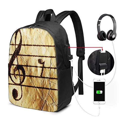 Schulrucksack Mit USB Port Jungen Mädchen Teenager, Rucksack Schule Laptop Rucksack für Herren Damen Daypacks für 15,6 Zoll Laptop Rucksack Klavier Notenblatt Gitarre