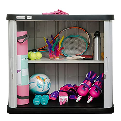 Arcón Exterior Outdoor Garden Storage Deck Box para Patio Exterior Jardín, Organizador de almacenamiento grande impermeable a prueba de lluvia, 2 repisas ajustables, para cojines juguetes almohadas