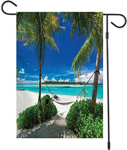 brown78 Trees Garden Flag, Double Sided,Hammock Palm Trees Tropical Beach Scenic Coastline Green Blue White,Holiday Celebration Garden Flag,28 x 40 Inch