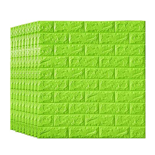KUNYI 3D Brick Tapete, Removable Peal und Stick-PE-Schaum-Wand-Aufkleber for Wohnzimmer Home Office, Multi-Color Optional (Color : Green, Size : 20 Pack)