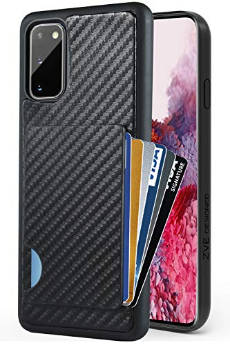Samsung Galaxy S20 Wallet Case, Galaxy S20 5G Case, ZVEdeng Credit Card Holder Case Carbon Fiber Card Clip Slim Wallet Money Pocket Shockproof Case Cover for Samsung Galaxy S20 5G 6.2'' Black