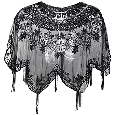 BABEYOND Sequin Beaded Evening Cape 1920s Fringed Shawl Wraps Wedding Bridal Shawl Scarf