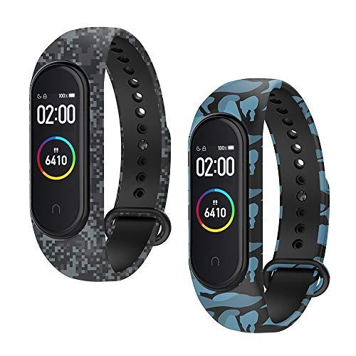WD&CD Armband kompatibel mit Xiaomi Mi Band 4/3 Weiches Silikon (2 Stück, Camouflage Blau + Camouflage Grau), Verstellbare Fitness Armband kompatibel für Frauen männer