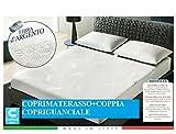 Coprimaterasso + Coppia federe antiacaro Fibra d'Argento Matrimoniale cm 175/180x200+Angoli-Antistatico-antimicotico-antiodore-termoregolatore