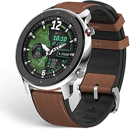"""Amazfit GTR 47 Smartwatch Deportivo Reloj Inteligente AMOLED de 1.39"""" GPS + GLONASS Integrado Frecuencia cardíaca Continua de 24 Horas Larga duración de batería 14 dias 12 Modos Deportes- Acero"""